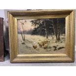 R Mcneill large oil on canvas of sheep in winter s