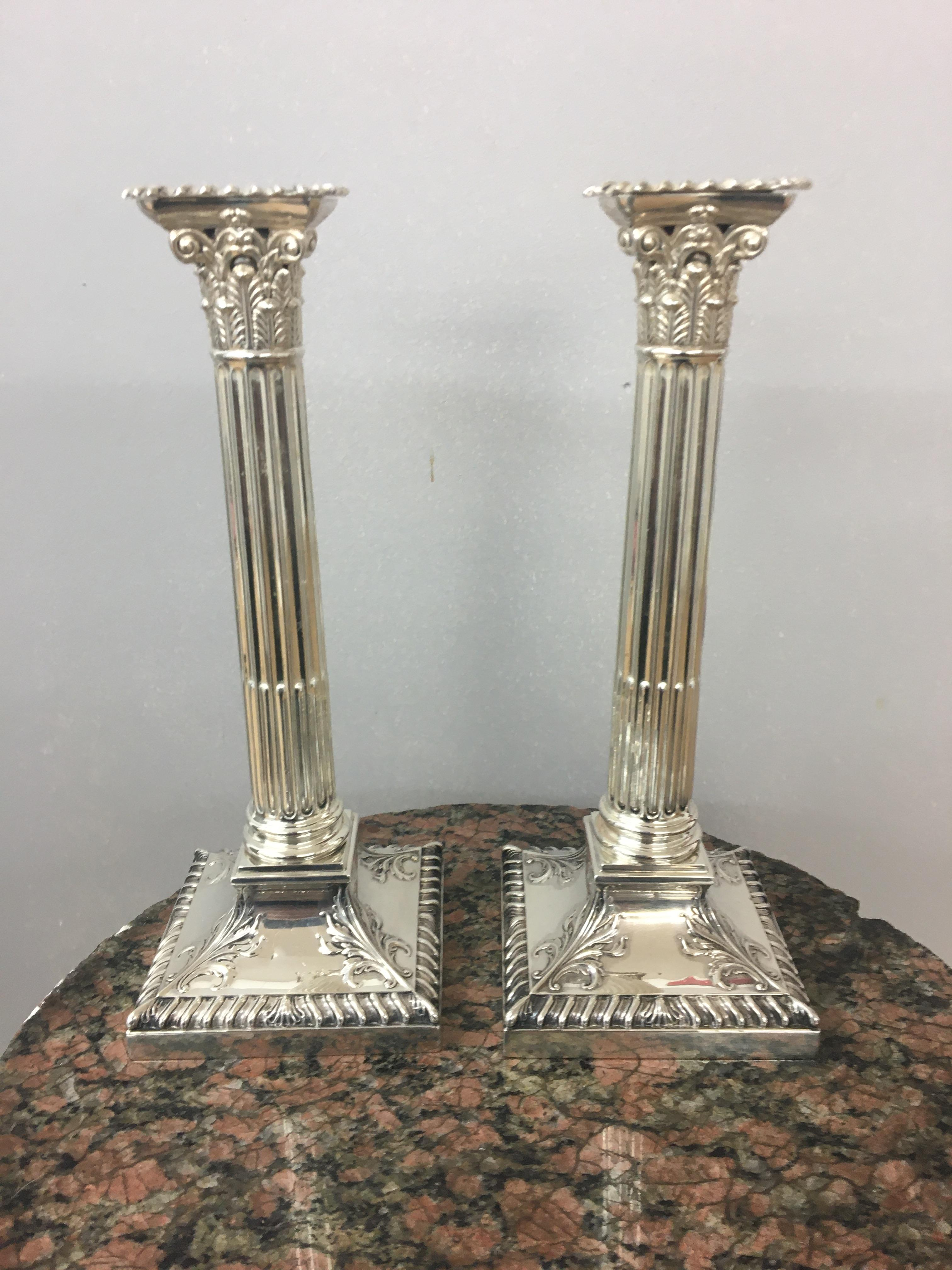 Edwardian silver Corinthian candlesticks, Sheffield, 1908, Hawksworth Eyre and co. height 24cm. - Image 2 of 4