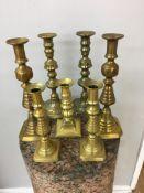 Qty of 18th/19th c brass candlesticks.
