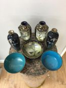 Chinese and Japanese cloisonne items and bowls.