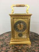 19th c carriage clock/alarm, c1890, 14cm x 10.5 cm x 9cm.