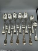 Large HM Silver spoons and forks, 972 G