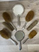 Mixed Eight HM Silver Brush/Mirror sets.