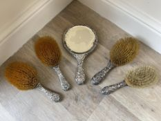 Five piece HM Silver Brush and Mirror set.