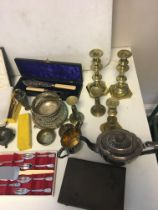 Qty EPNS and brass items