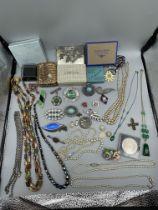 Box of vintage dress jewellery