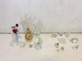 Qty Swarovski and other glass items to inc perfume