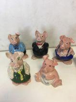 Set of five Nat West pigs