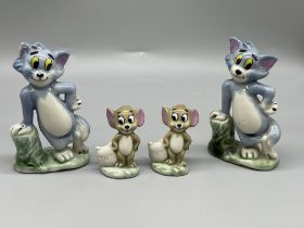 Two sets of Wade Tom And Jerry cartoon figures