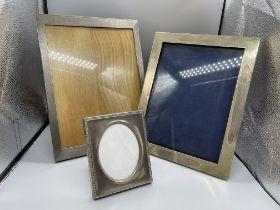 Three HM Silver Photo Frames 1) H26.5cm x W20.5cm,