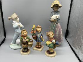 Two Nao figurines and three hummel figurines.