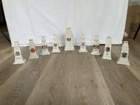 Nine Crested China WW1 Cenotaph Memorial Models