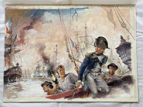 Penguin original artwork of a Navy scene for a boo