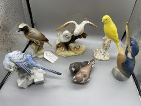 Quantity of Six Bird Figurines, to include Royal C