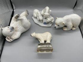 LLADRO 1443 Bearly Love Figurine-Polar Bears on Ic