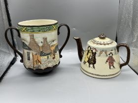 Royal Doulton 1982 pair of Pottery in the Past urn