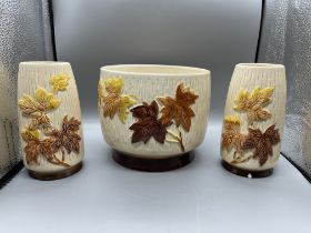 Sylvac 'Atumn Leaves' design plant pot and two vas