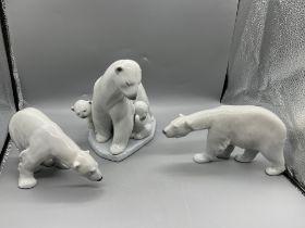 "LLADRO POLAR BEARS FIGURINE 6745 ""ARTIC FAMILY"" MI"