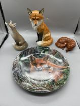Three Fox Figurine and Limited Edition Decorative