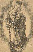 Alfred Dürer 1471-1528, Maria mit Zepter und Sternenkrone,, Kupferstich auf Bütten, monogrammiert u