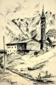 La Demetz, Jenbach , Zeichnung auf Papier, Blattgröße: 20x29cm,