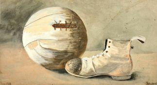 Fußball mit dem Schuh , Aquarell auf Papier , signiert Schuler K. Graz 1909 , Blattgröße:33,5x18,5c