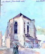 Louis Christian Hess (1895 Bozen-1944 Schwaz), Soldat vor einer Kirche in St. Mihiel in Frankreich