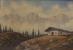 Gemälde Berglandschaft mit Bauernhof signiert Aufschneiter 1999, Öl auf Karton , Maße 45x32cm, gera