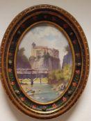 Oswald Rampl (Innsbruck 1911-1984) , Öl auf Malplatte, Burgansicht , Größe: 34x47cm,Größe mit Rahme