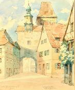 Aquarell, Röderbogen in Rothenburg ob der Tauber, Passepartoutausschnitt: 18,5x22cm, unleserlich si