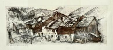 Herbert Danler , (Fulpmes, Tirol, 1928-2011 Telfes im Stubaital) Hof am Zammerberg, signiert unten