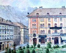 Dr. Karl Gugler, Blick Richtung Maria-Theresien.Straße in Innsbruck, Aquarell auf Papier, Rückseiti