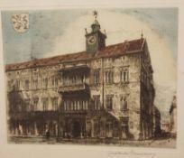 Constantin Damianos (Wien 1869- 1953 Graz) , Radierung in Farbe, orignal signiert, Größe mit Rahmen