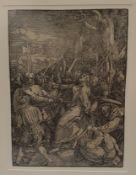 Albrecht Dürer ( Nürnberg 1471-1528 ) , Die Gefangennahme Christi, Holzschnitt aus der grossen Pass
