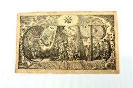 Kupferstich auf Seide, C+M+B , 18.Jhd, Größe: ca. 15x9,5cm,