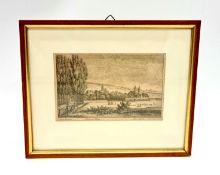 "Rosengarten, Leine Brücke , Teutsche Haus , Ross Garten"" ,Kupferstich,um 1820 , Passepartoutausschn"