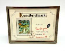 Peter Pongratz, Kunstbriefmarke, Spanien 1989 , Auflage 6/50 , Mischtechnik auf Papier auf Postkart