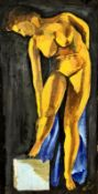 Aktgemälde, Öl auf Karton , signiert : Bauernknecht 1941, Größe: 24,5x48cm, ungerahmt,