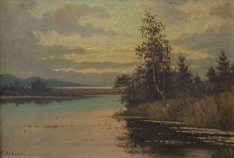 """Karel VOBORIL (1893-1941), Landschaftsgemälde """"am Seeufer"""" Öl auf Malkarton ,"""