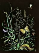 Mischtechnik auf Karton, Kräuterwiese mit Insekten, Monogramm: AJ , 1.Hälfte 20.Jhd, 33,5x25cm , ge
