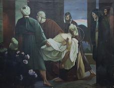 Grablegung Christi, Öl auf Leinwand, ungerahmt, signiert: R. Forcher 26, Größe: 99,5x77cm , Beschä