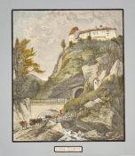 Adolf Obermüllner (Wels 1833-1898 Wien), Schloss Trautson , Passepartoutausschnitt: 12x13,7cm, gera