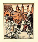 Rudolf Schiestl 1878-1931, der Kinderfänger, Holzschnitt koloriert, Blattgröße: 19x16,5cm, signiert