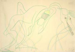 Oswald Oberhuber (Meran 1931-2020 Wien) Heuschrecke, signiert, Buntstifte auf Papier, 62x43,5 cm, u