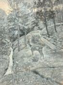 Christian Haug (Soleur 1862-1953 tätig in München), Reh im Wald, Mischtechnik auf Papier, signiert