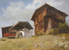 Oswald Rampl (Innsbruck 1911-1991), Bergbauerngehöft , Mischtechnik auf Papier, Größe: 28,5x38cm, g