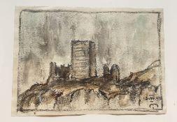 Josef Mahlknecht , (1827-1969), Burgruine , Aquarell auf Papier, signiert u. datiert,Größe: 17x12,5