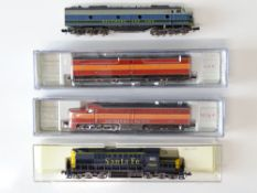 A mixed group of American Outline N Gauge diesel locomotives by LIFE-LIKE and others - G/VG in F/G