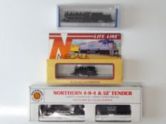 A group of N Gauge American Outline steam locomotives by BACHMANN and LIFE-LIKE - G/VG in G/VG boxes