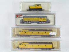 A group of American Outline N Gauge diesel locomotives by ATLAS, LIFE-LIKE and MODEL POWER all in